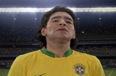 Photo: Diego Maradona is seen wearing a Brazilian national soccer jersey during a TV commercia in Brazil